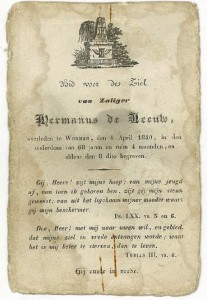 Bidprentje 1  Hermanus de Leeuw (1840)