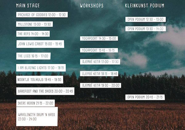Blokkenschema Good Vibes Festival