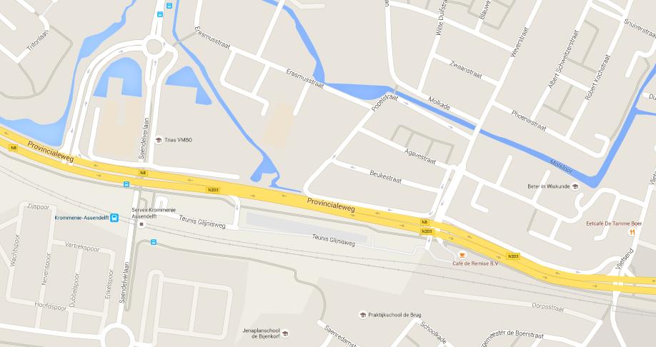 kaart provinciale weg krommenie