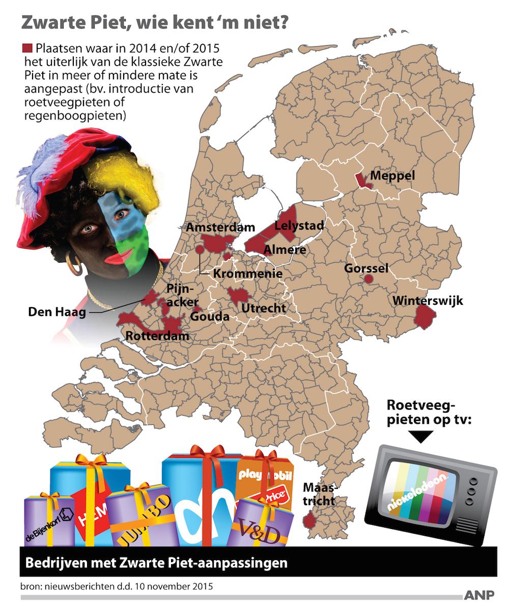 2015-11-10 07:47:50 Bijna overal klassieke Zwarte Piet, overzicht steden waar uiterlijk Zwarte Piet in meer of mindere mate is aangepast. FORMAAT: 100 x 115 mm. ANP INFOGRAPHICS