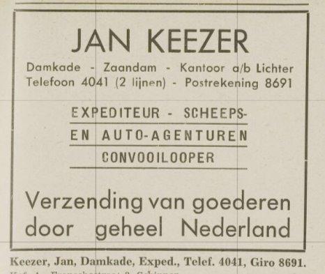 Jan Keezer advertentie adresboek 1941