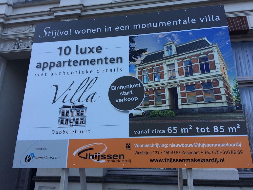 Villa Dubbelebuurt bord Thijssen