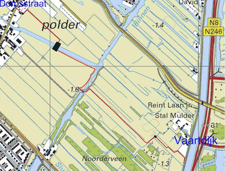 Kaart Laarzenpad Noorderveen