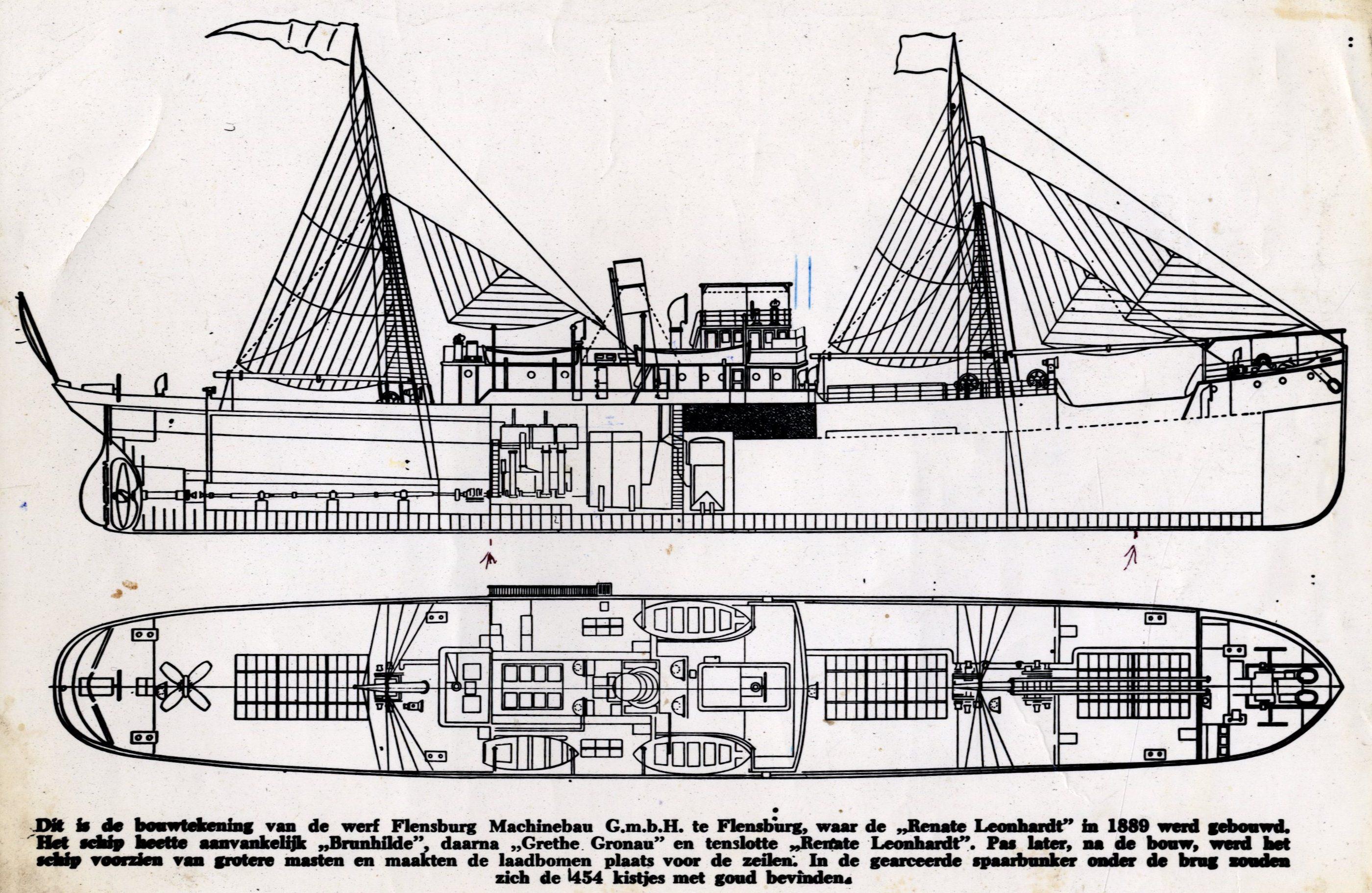 Plattegrond omgebouwde zeilboot Renate Leonhardt