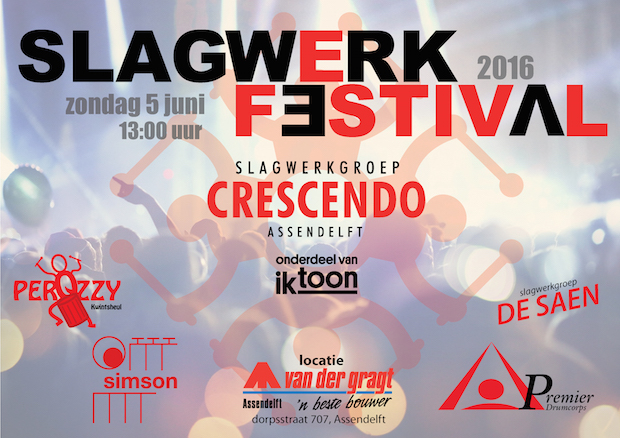 Poster Slagwerkfestival 2016 liggend