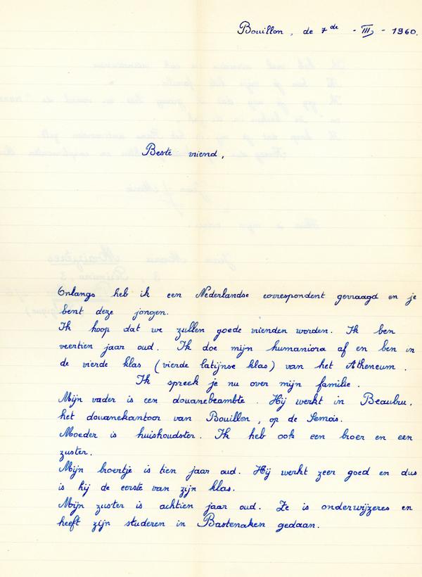 De eerste brief van Jean-Marie met zijn precieuze handschrift.