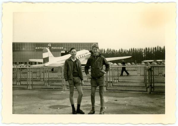 Met Jean-Marie (links) op Schiphol.