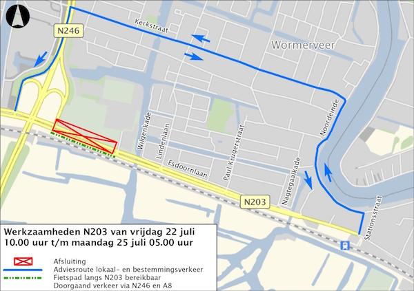kaart afsluiting n203 juli 2016