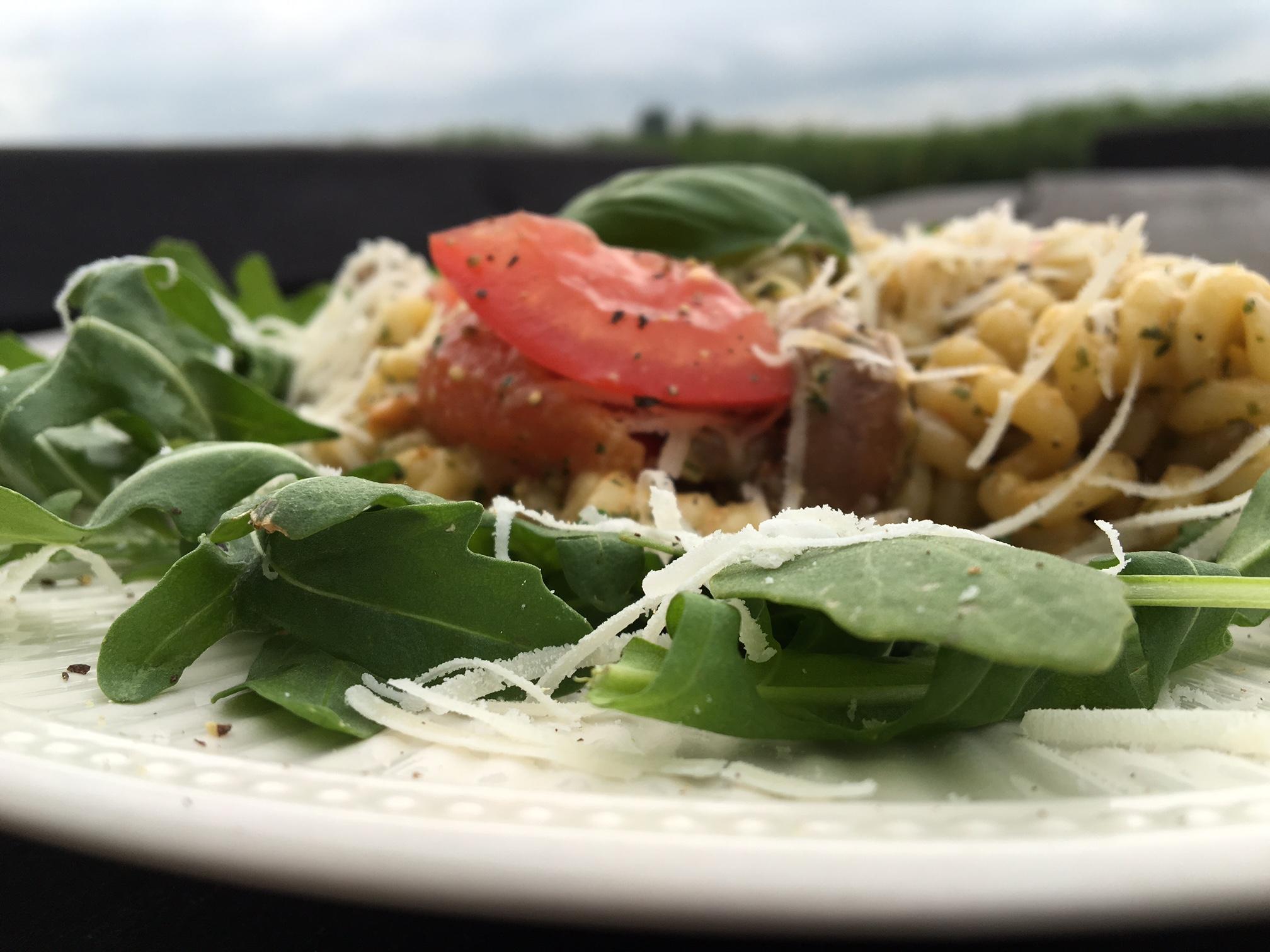 pasta pesto van dichtbij