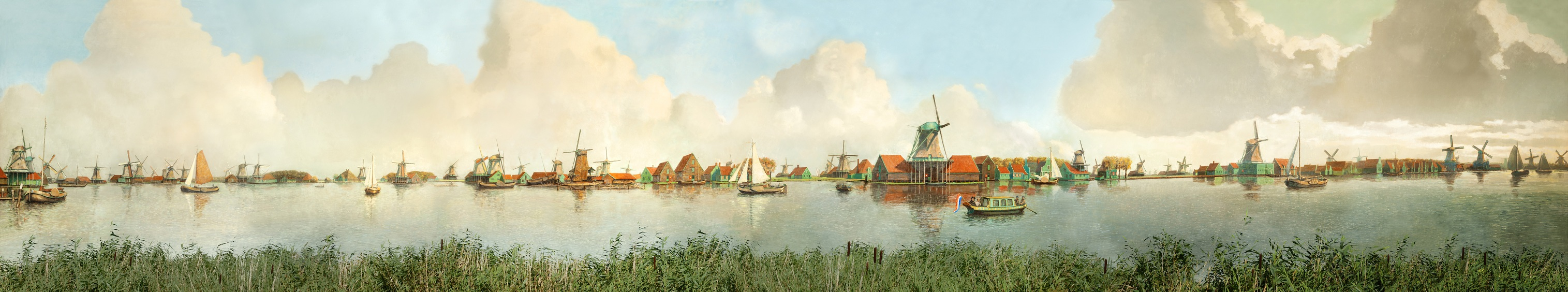 founder-of-the-society-of-zaan-mills-frans-mars-painted-this-mill-panorama-in-the-nineteen-fourties