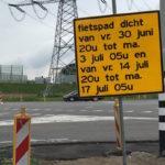 fietspad dicht 30 juni 2