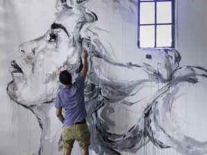 Mural Beguerra white 1 in progress (c) Aron Kroes copy