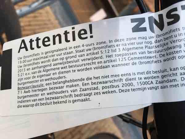 fietsers stickers parkeerverbod nov 2019 orkaan