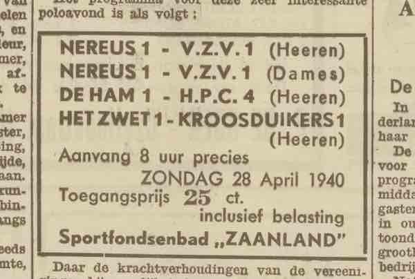 waterpolo 26 april 1940