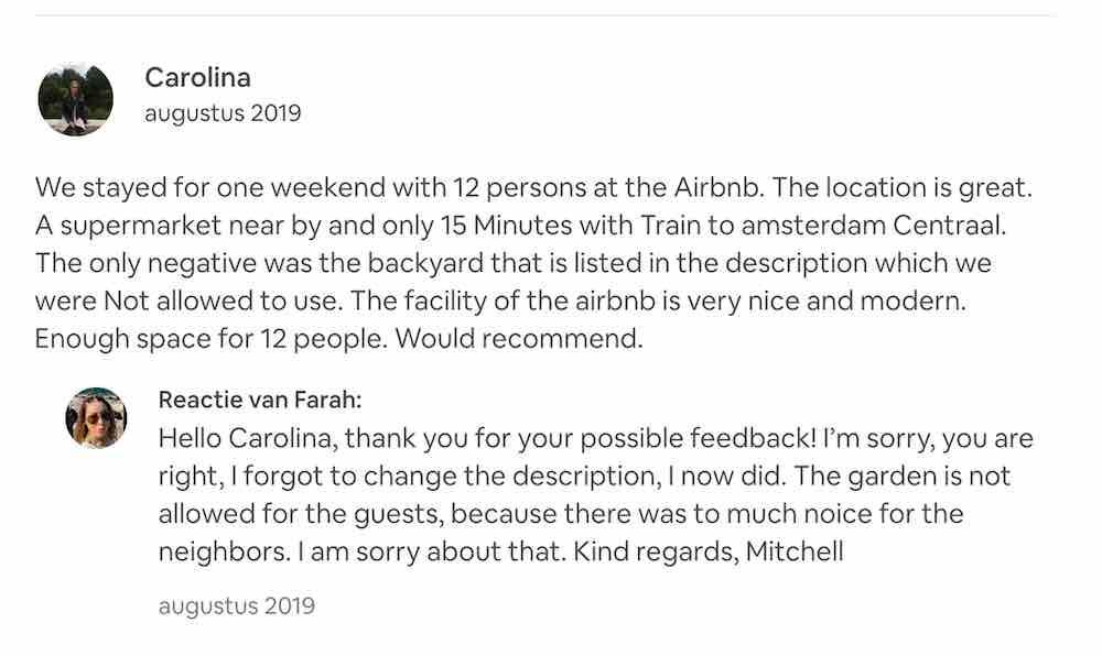 12 mensen airbnb klachten