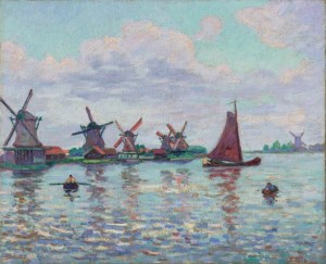 Kogmeeuw, Zeemeeuw, Oude Zwan, Roggebloem, Oranjeboom, St. Willebrordus (olieverfschilderij Armand Guillaumin).