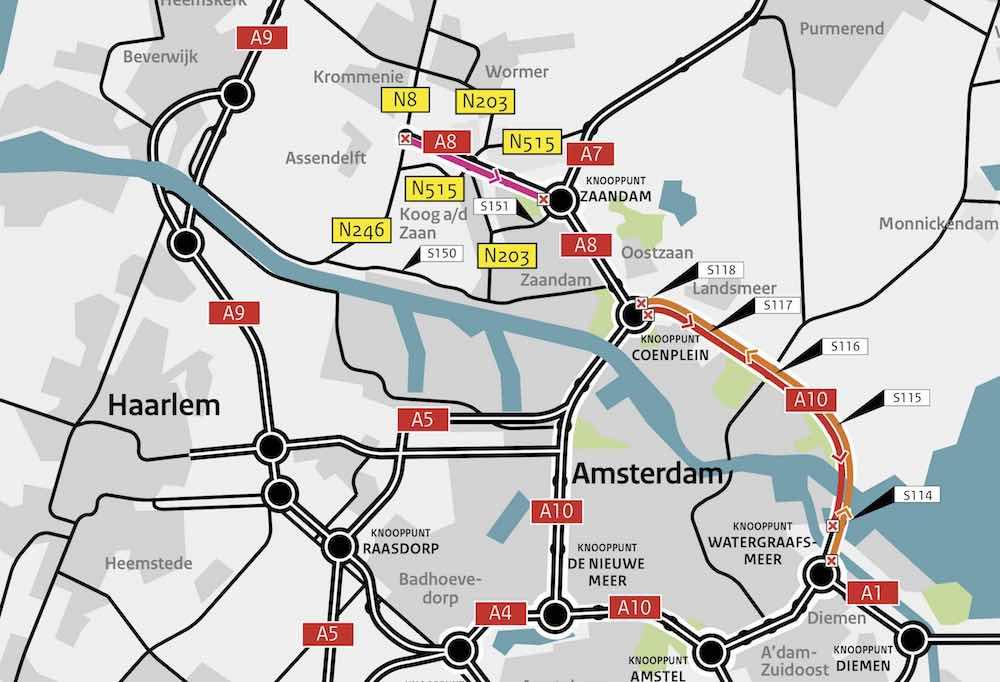 Deze zomer - A10 Noord en A8 afgesloten voor groot onderhoud