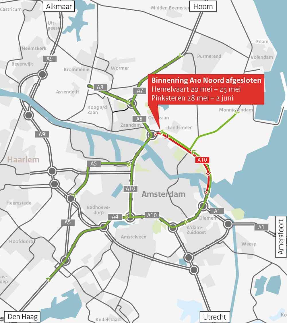 Omleidingskaartje A10 Noord binnenring afgesloten - uitgezoomd copy