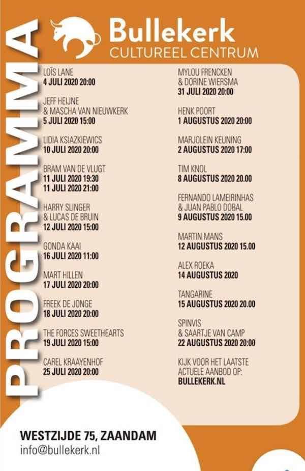 programma bullekerk zomer 2020