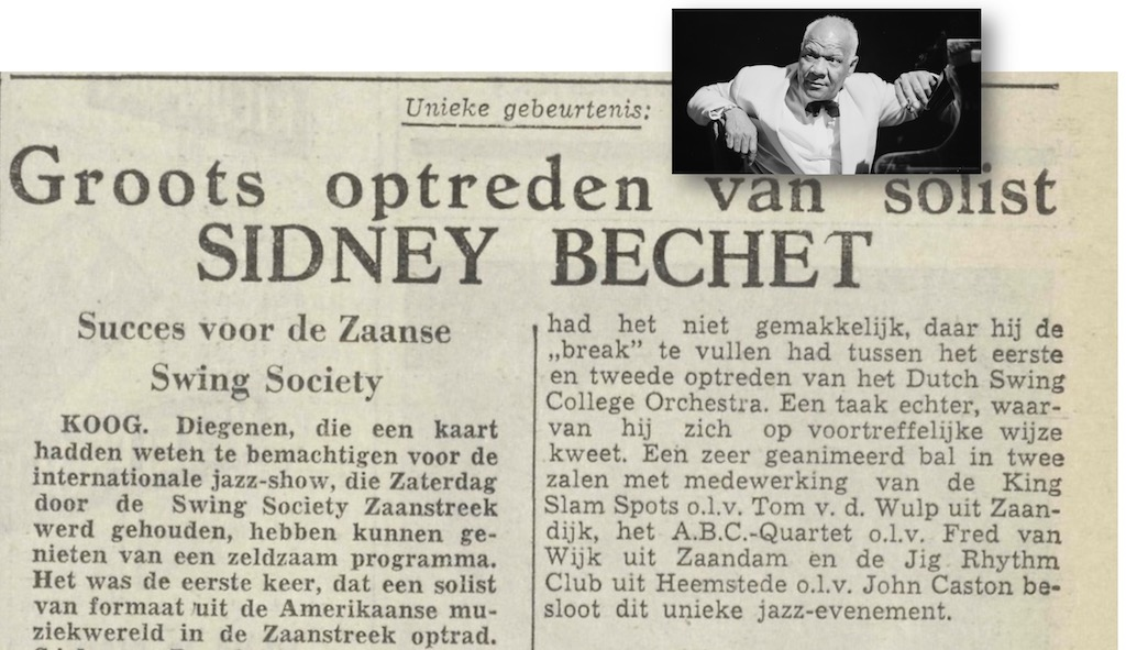 Sidney Bechet slaapt op het Konijnenpad